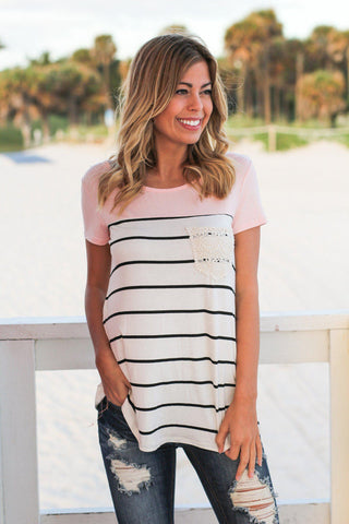 Pink Striped Short Sleeve Top