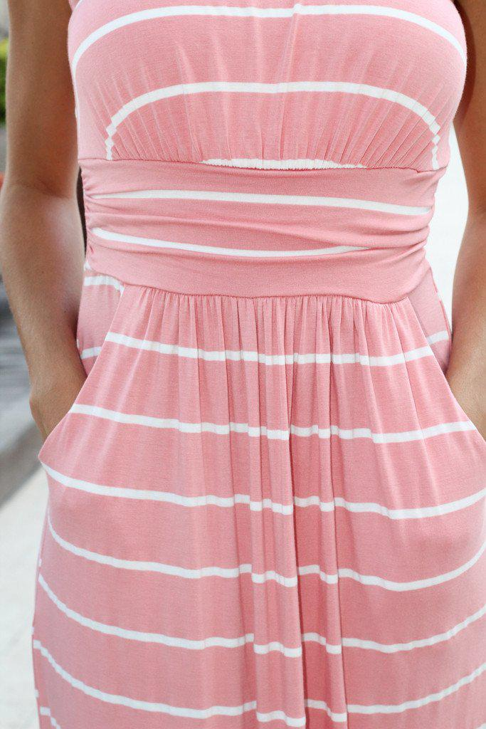 Pink Striped Strapless Maxi Dress