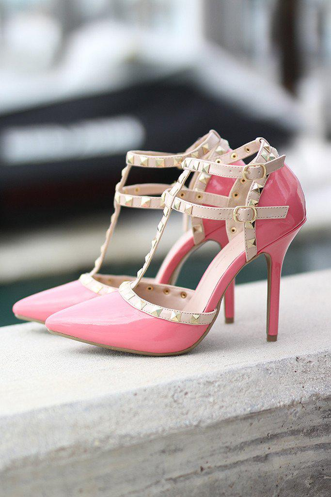 Pink Studded Strappy Heels