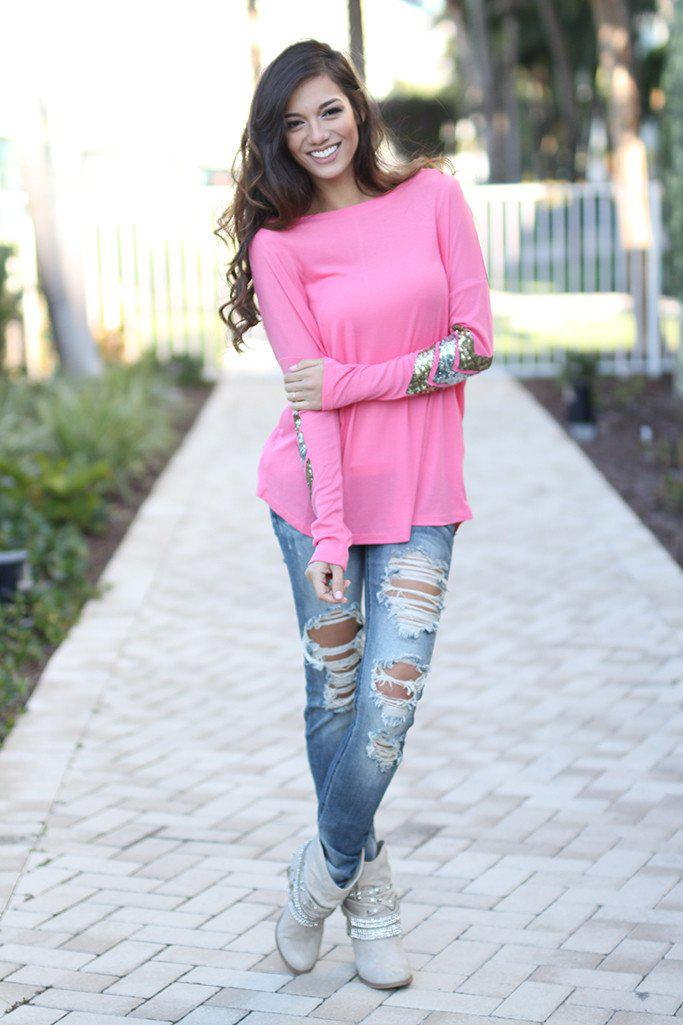 Pink Top With Chevron Sequins