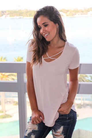 Light Pink Criss Cross Top with Short Sleeves