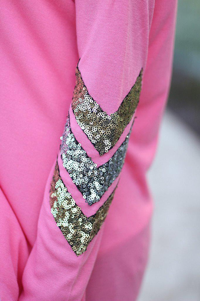 pink chevron sequins top