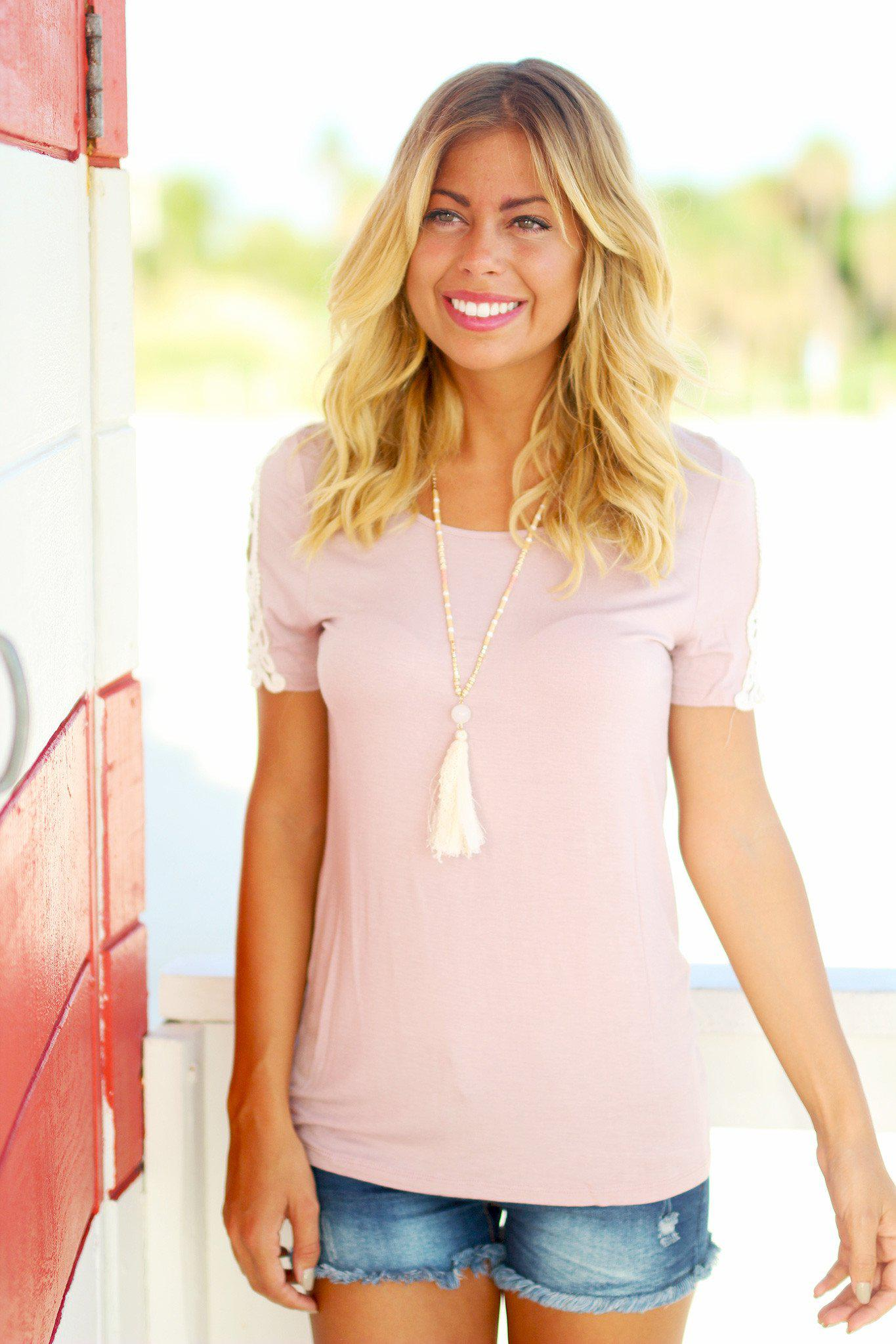 Dusty Mauve Top with Crochet Sleeves