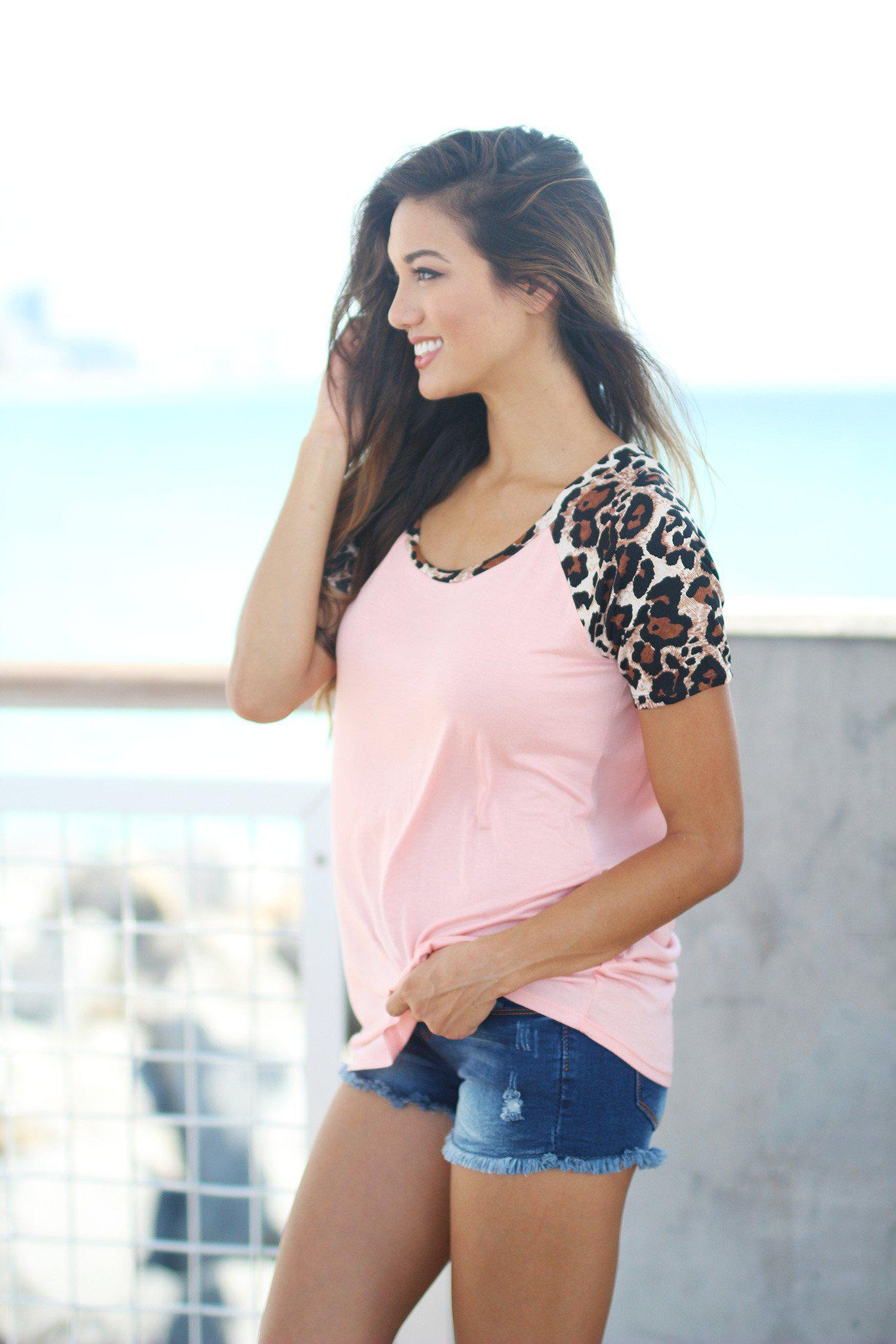 Light Pink Top with Leopard Sleeves