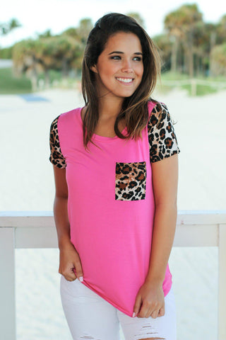 Pink Top with Leopard Sleeves and Pocket