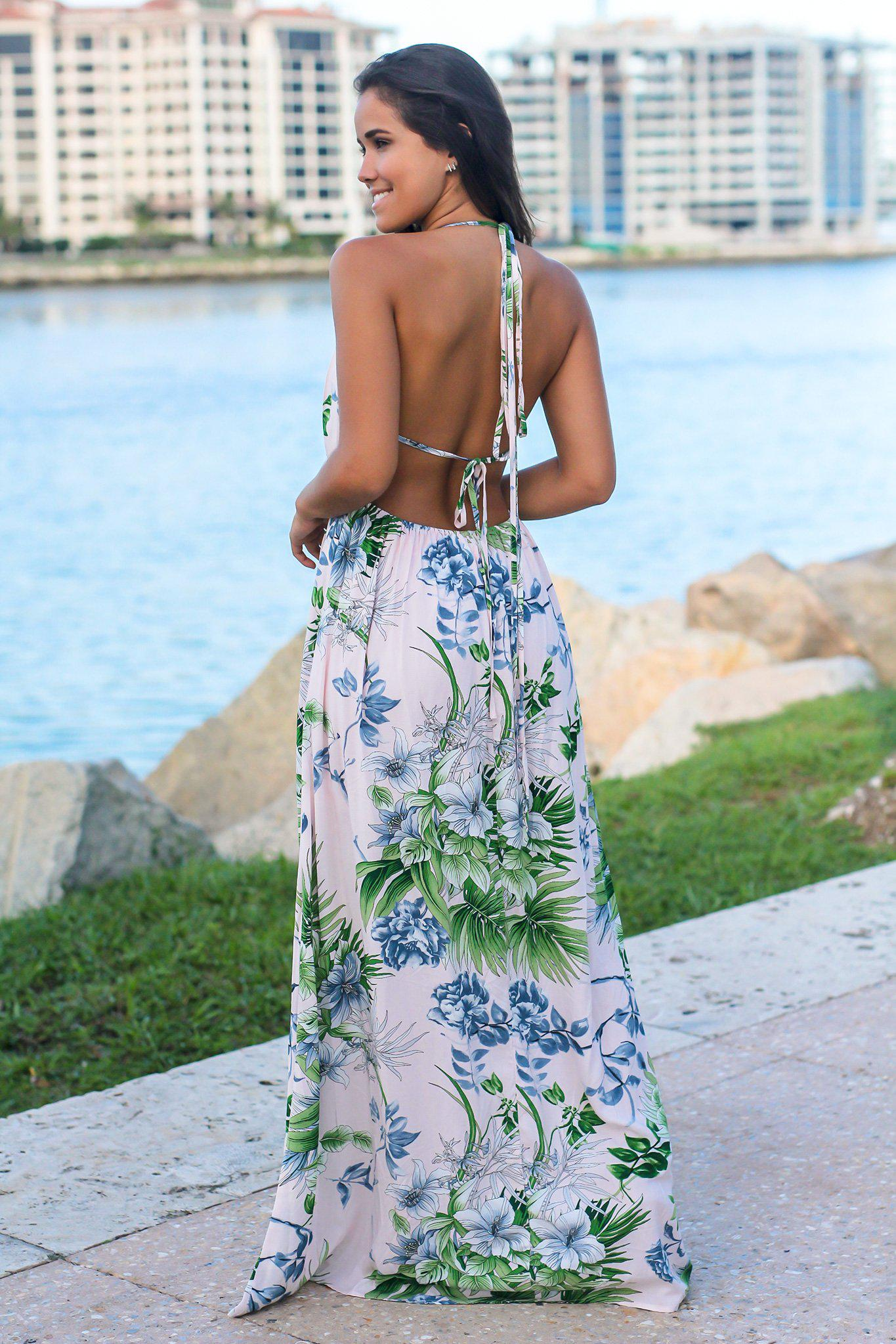 Pink Tropical Halter Neck Maxi Dress