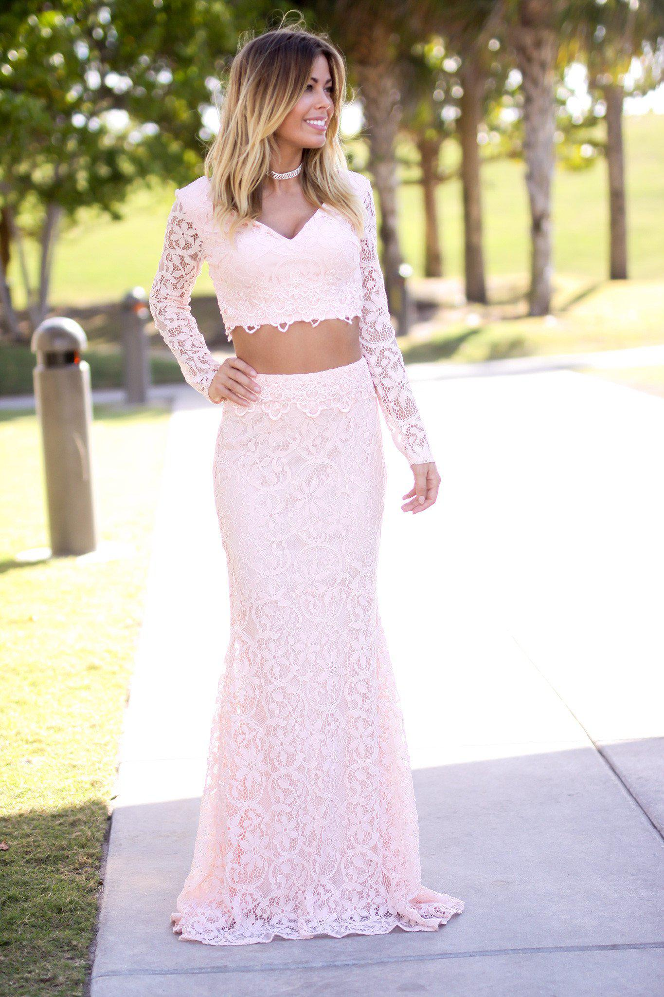 Pink V Neck Long Sleeve Lace Two Piece Formal Dresses Saved By
