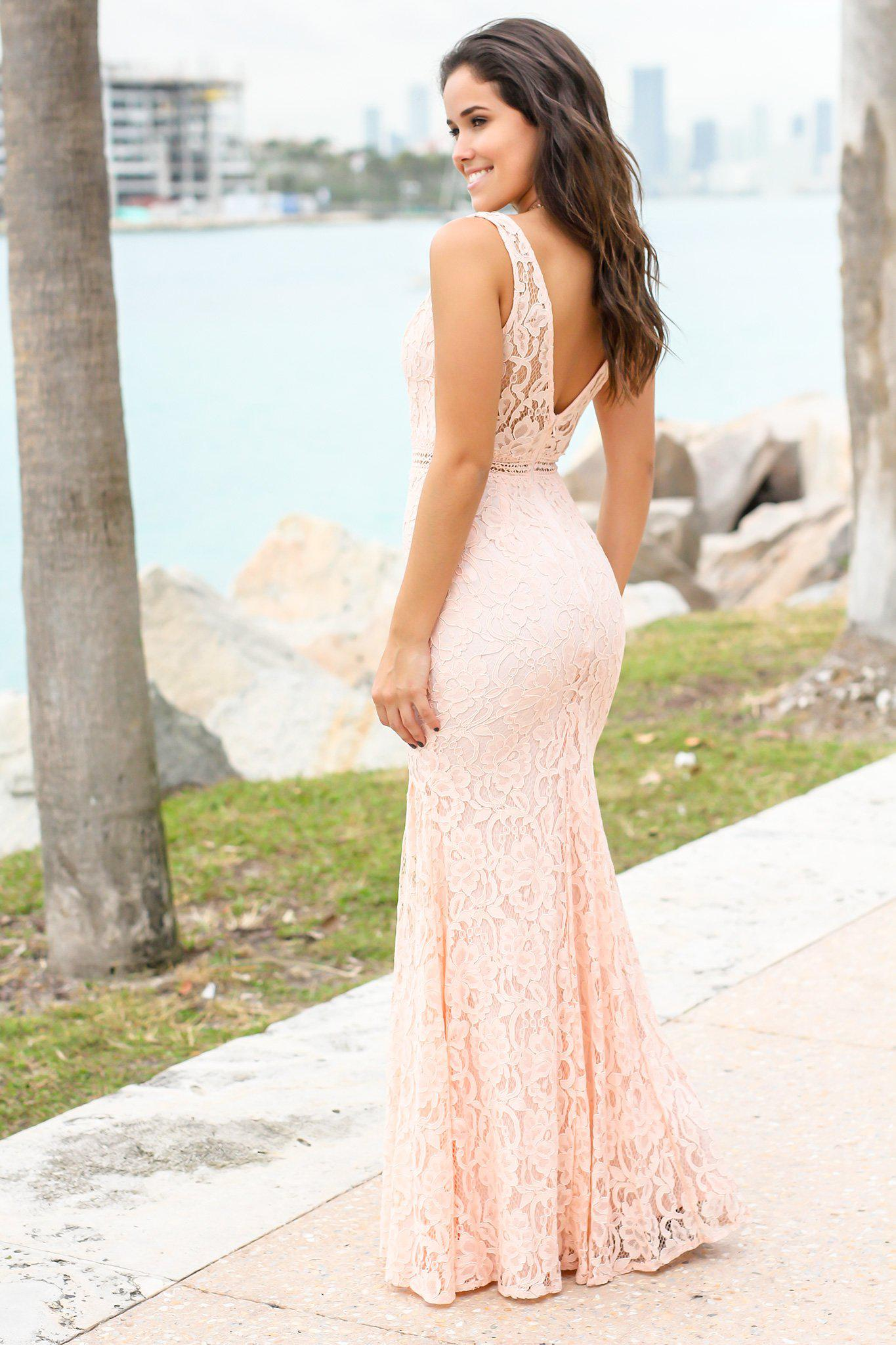 Pink V-Neck Lace Maxi Dress