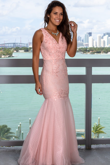 Pink V-Neck Lace Maxi Dress with Tulle Bottom