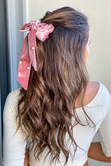 Pink Velvet Scrunchie with Bow