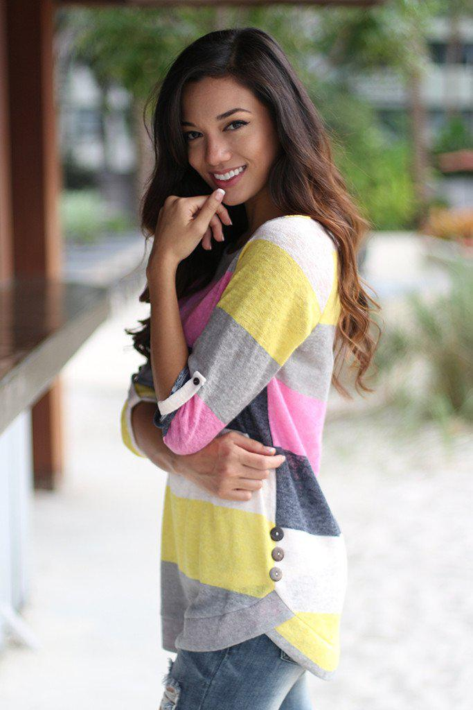 Pink and Yellow Color Block Top With Buttons
