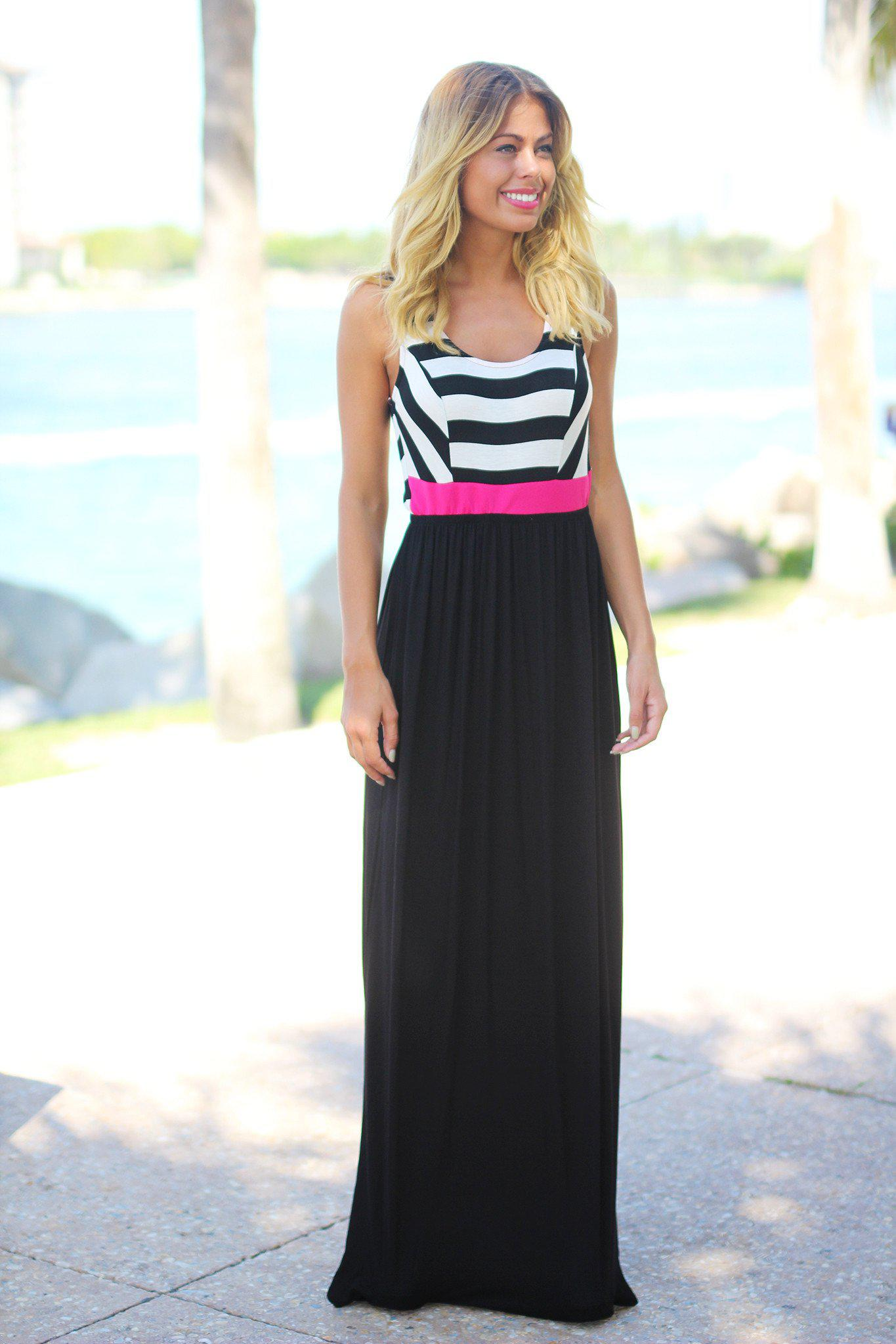 Black and pink maxi dress