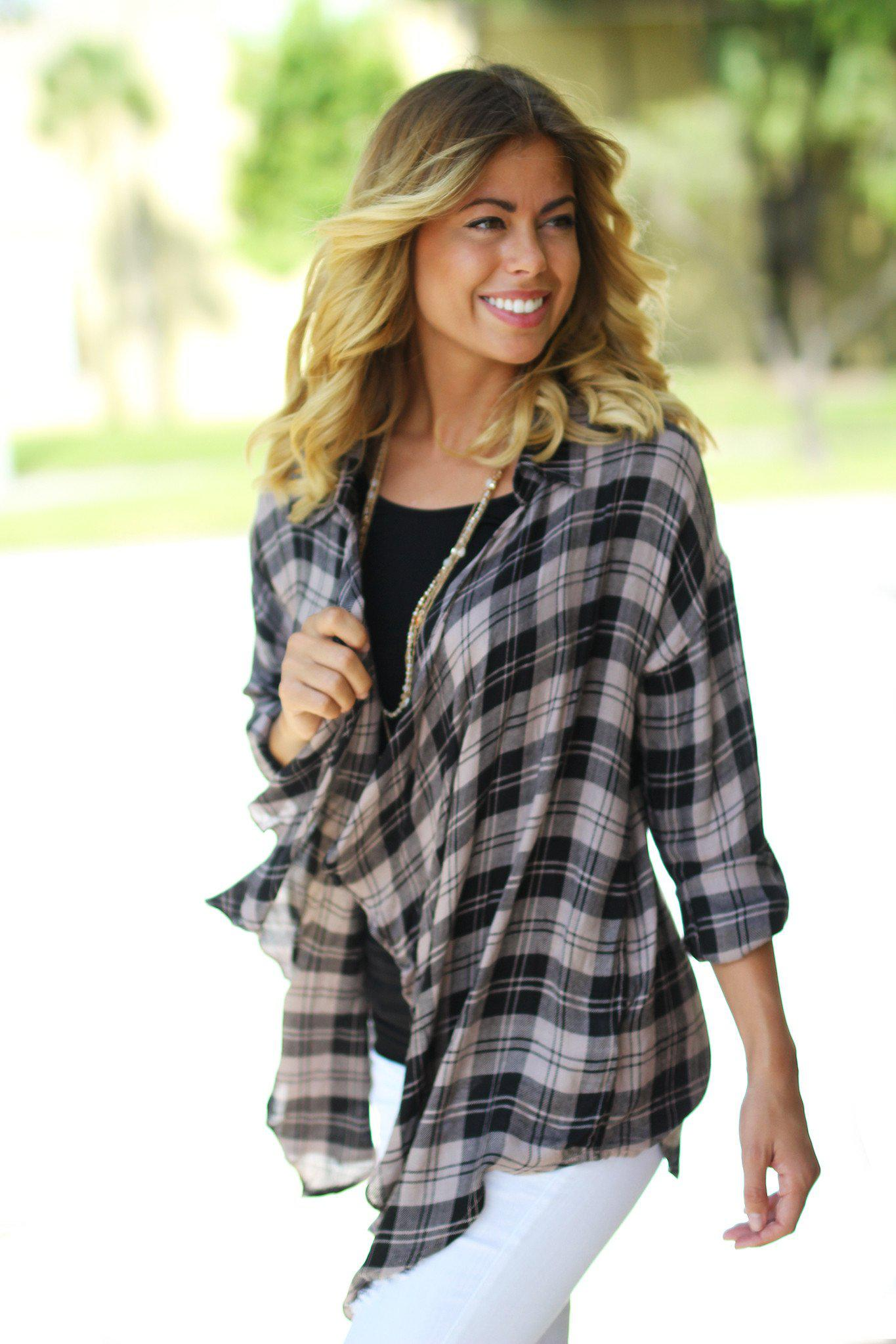 Dusty Rose and Black Plaid Cardigan
