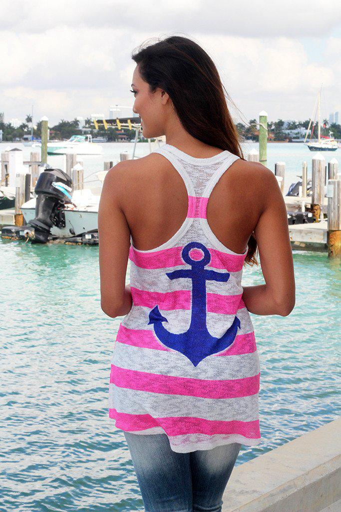 Pink and Blue Anchor Tank Top