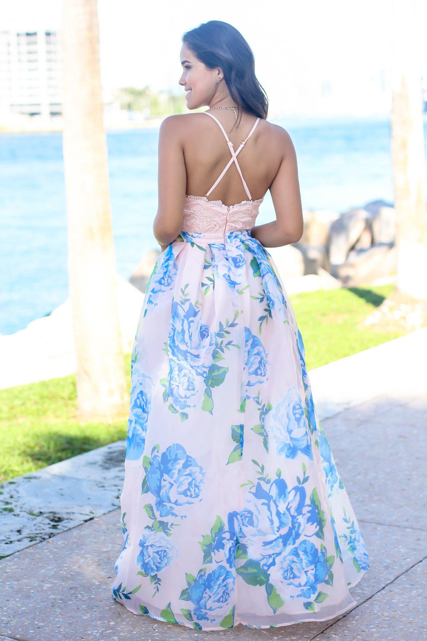 Pink and Blue Floral Maxi Dress with Crochet Top