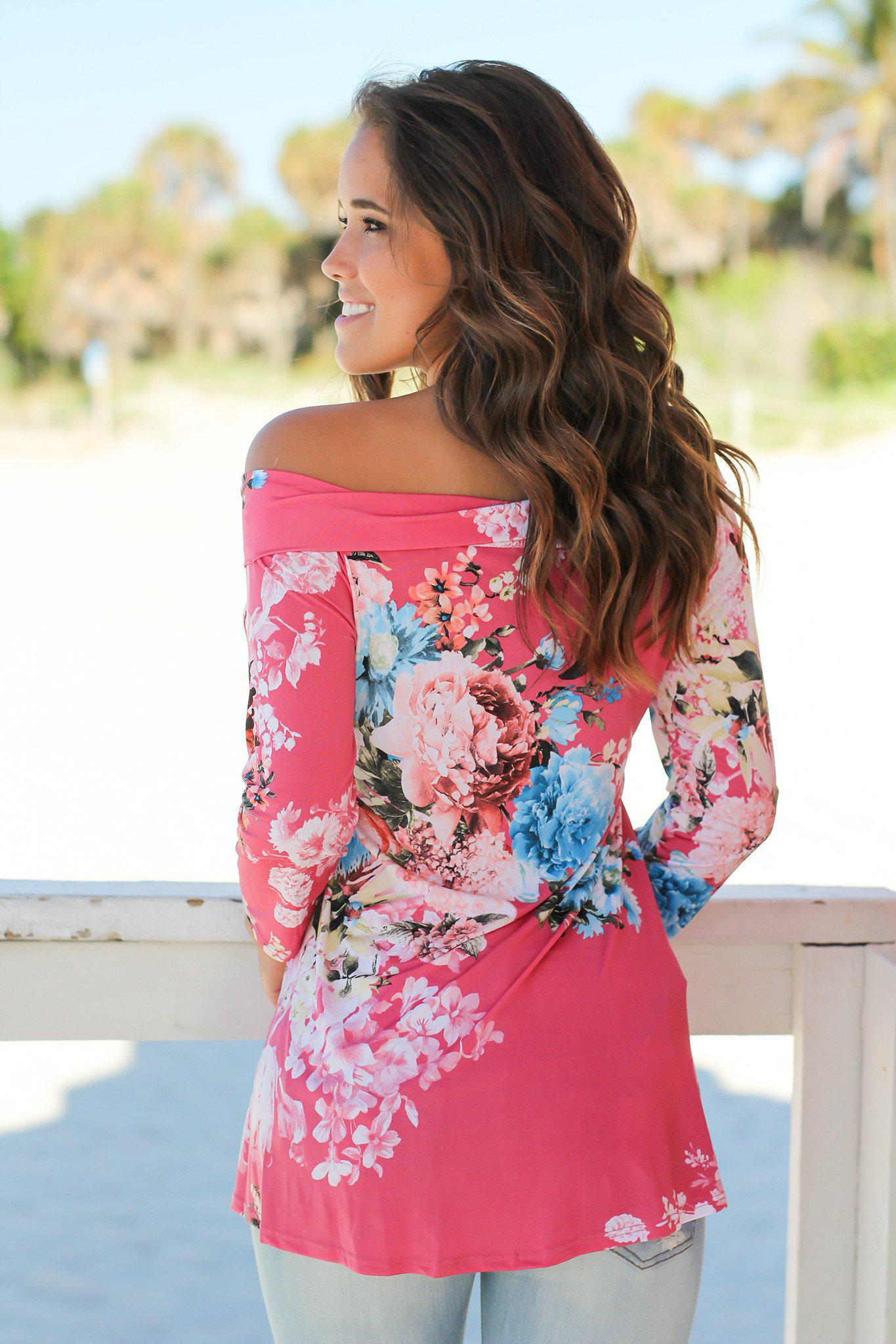 Pink and Blue Floral Off Shoulder Top