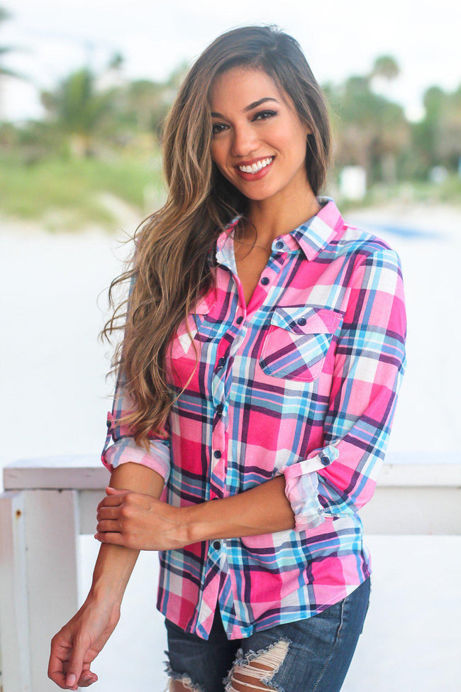 Pink and Blue Plaid Top