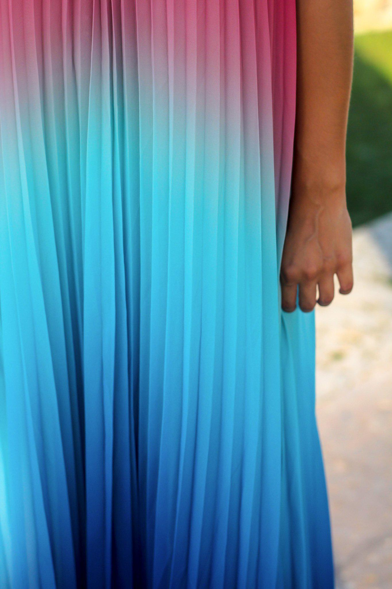 Pink and Blue Pleated Maxi Dress
