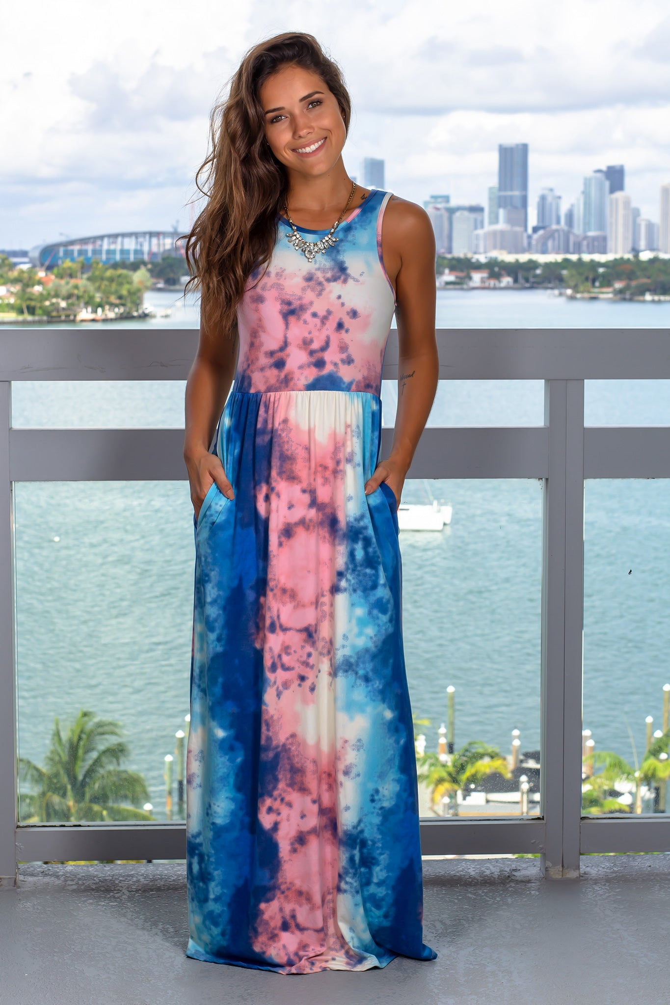 Pink and Blue Tie Dye Maxi Dress