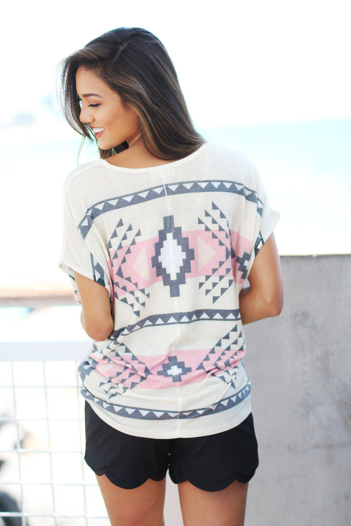 Pink and Ivory Aztec Top