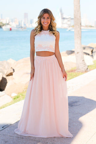 Pink and Ivory Two Piece with Crochet Top