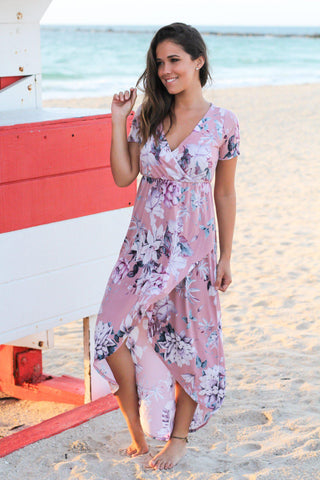 Pink and Purple Floral High Low Dress