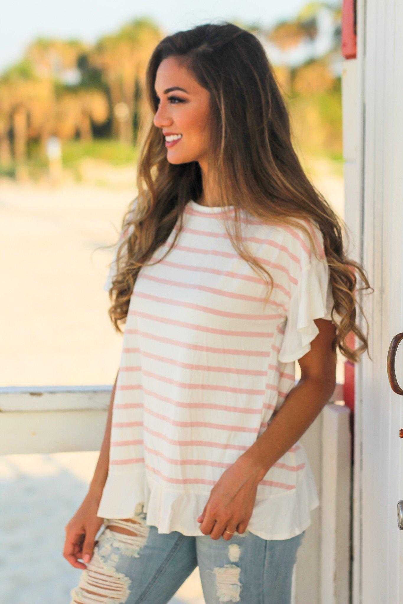 Pink and White Striped Top with Ruffled Bottom