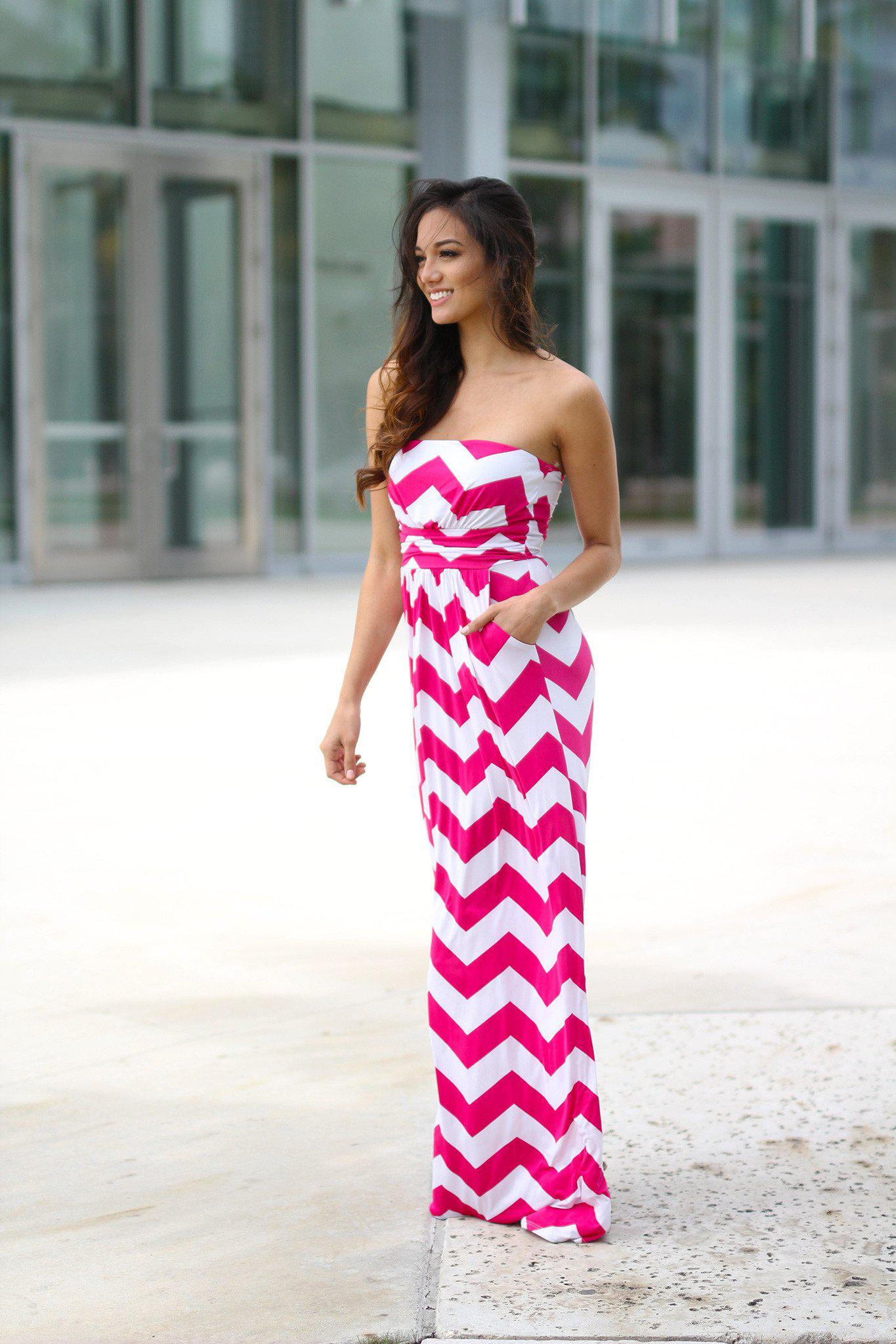 Pink and White Chevron Maxi Dress with Pockets
