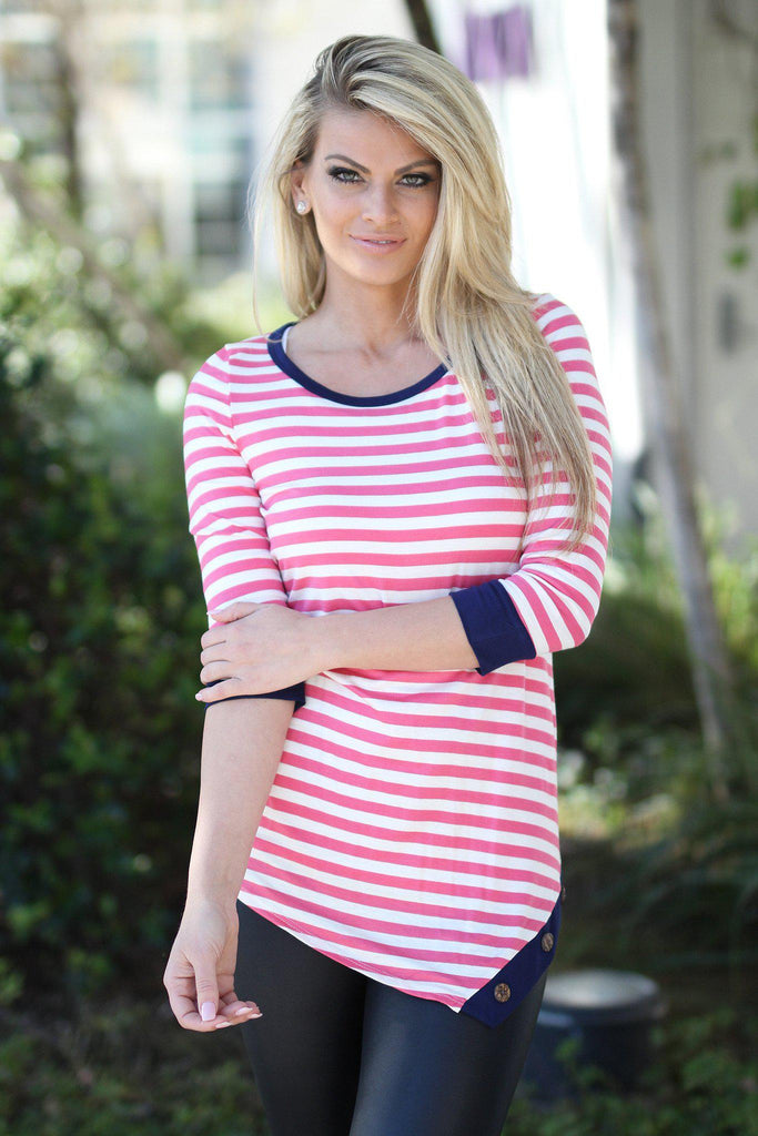 pink 3/4 sleeve top