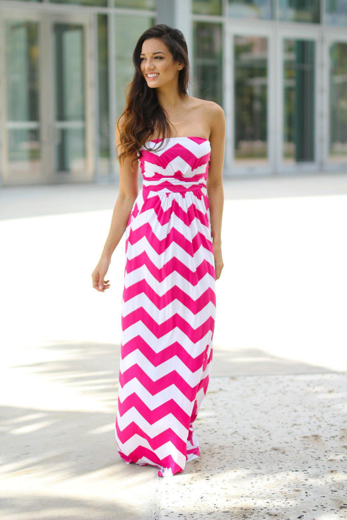 pink and white chevron long dress