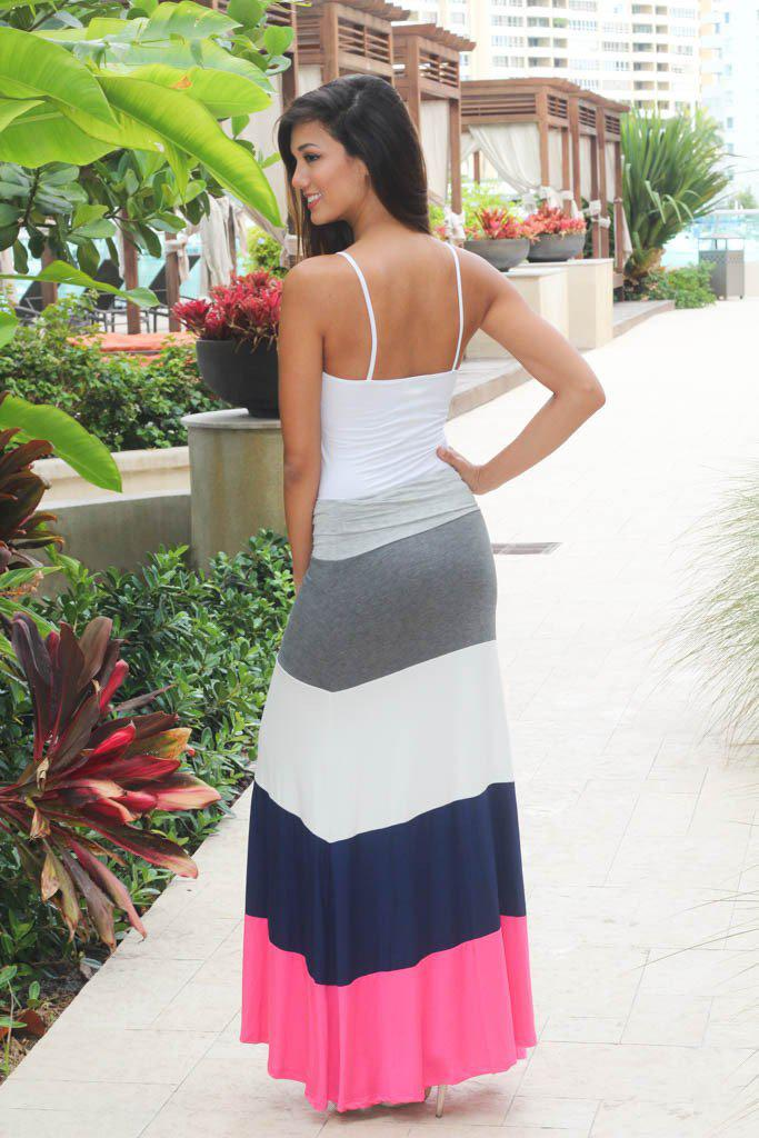 Pink and Navy Maxi Skirt