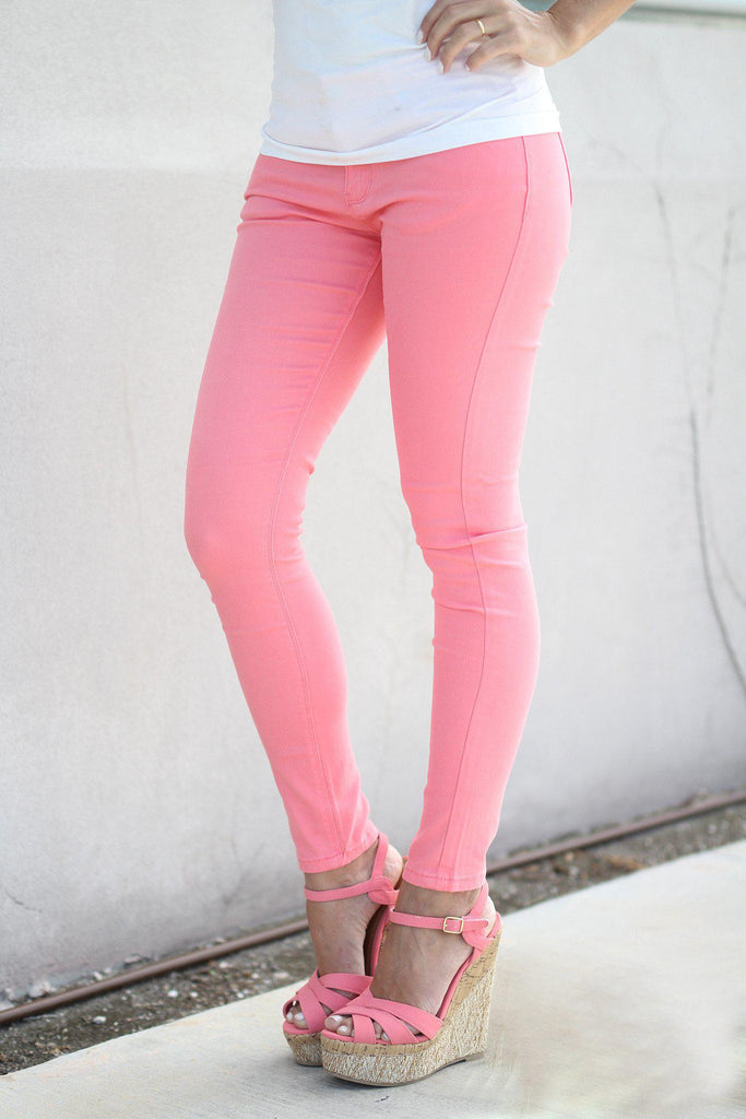 peach ladies jeans