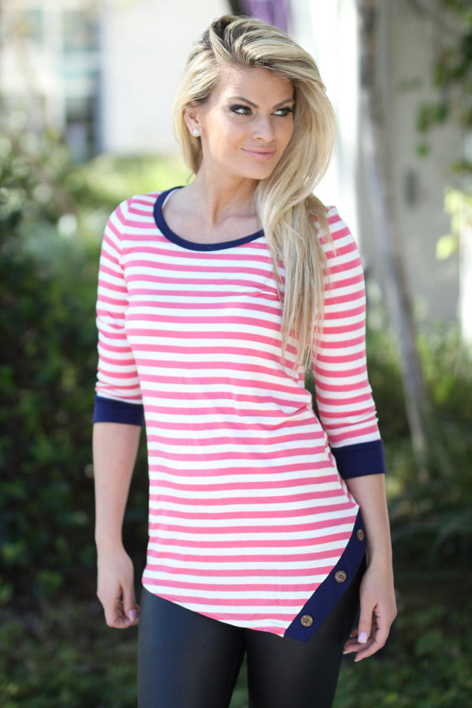 pink striped top with buttons