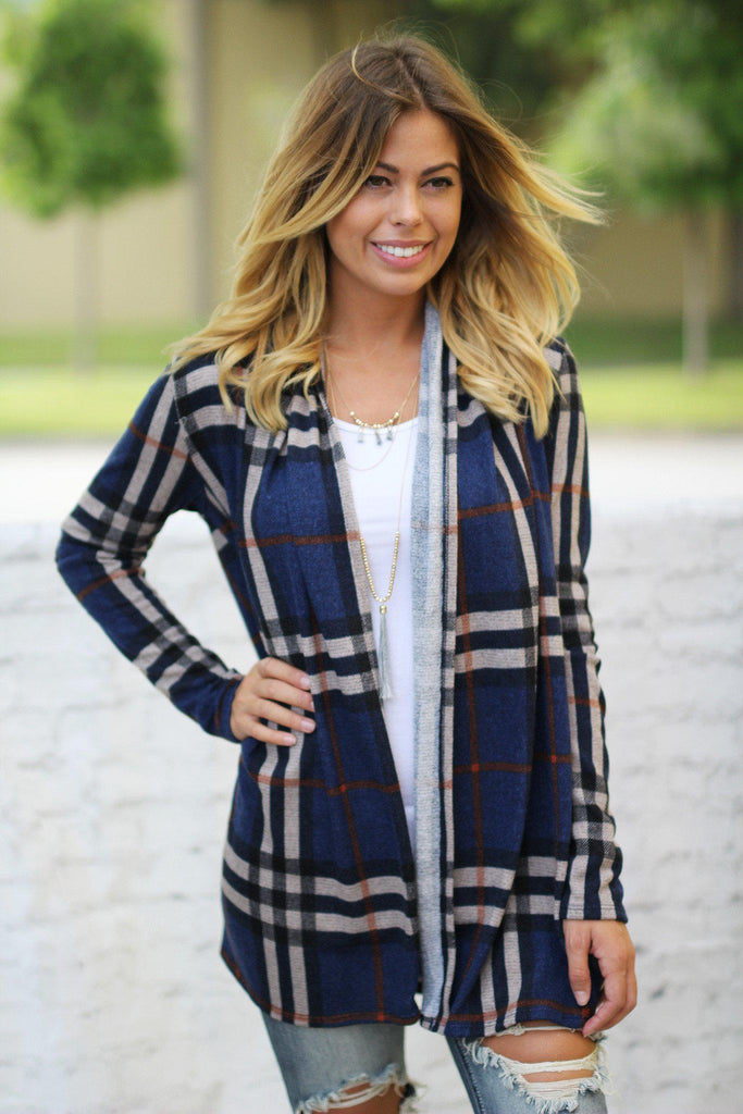 navy open front cardigan