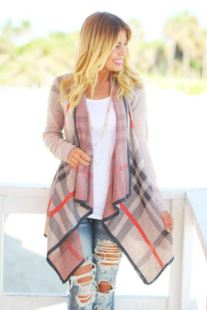 tan plaid cardigan