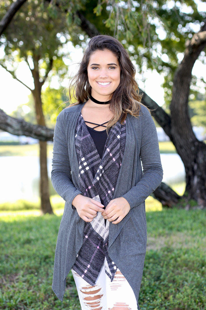 charcoal double layered cardigan