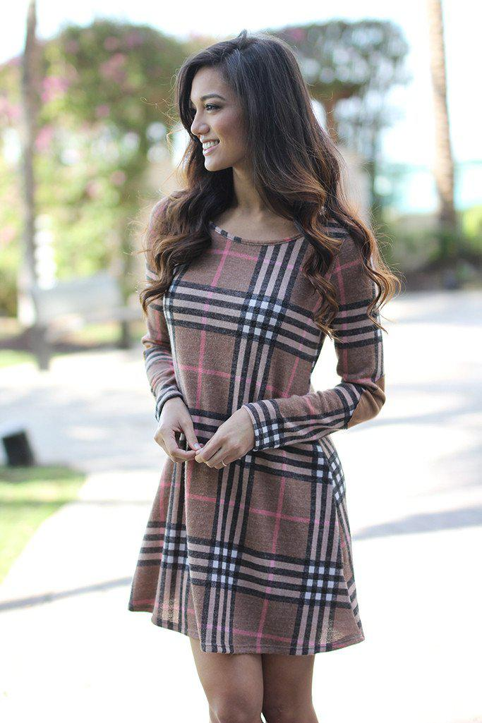 Mocha Plaid Dress with Elbow Patches