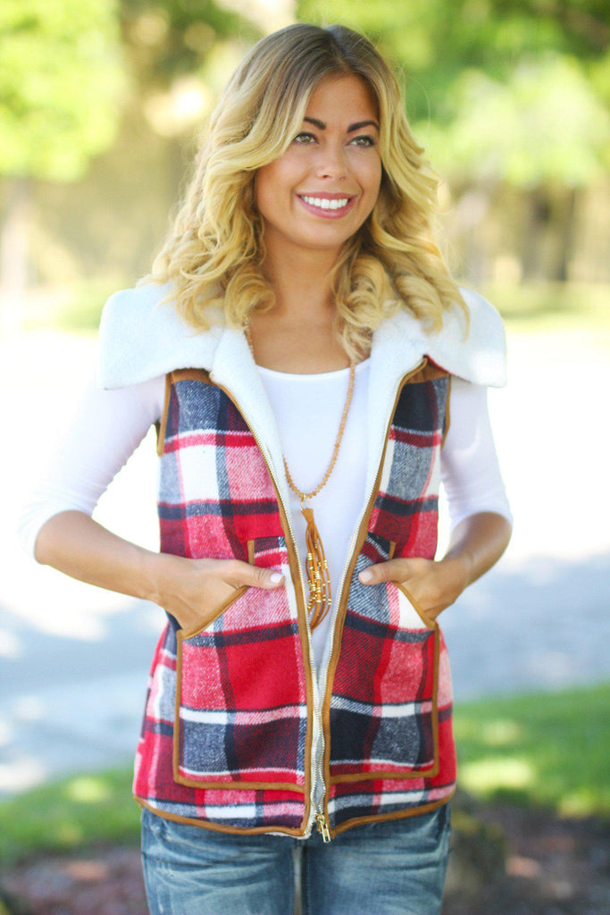 Red Plaid Faux Fur Vest
