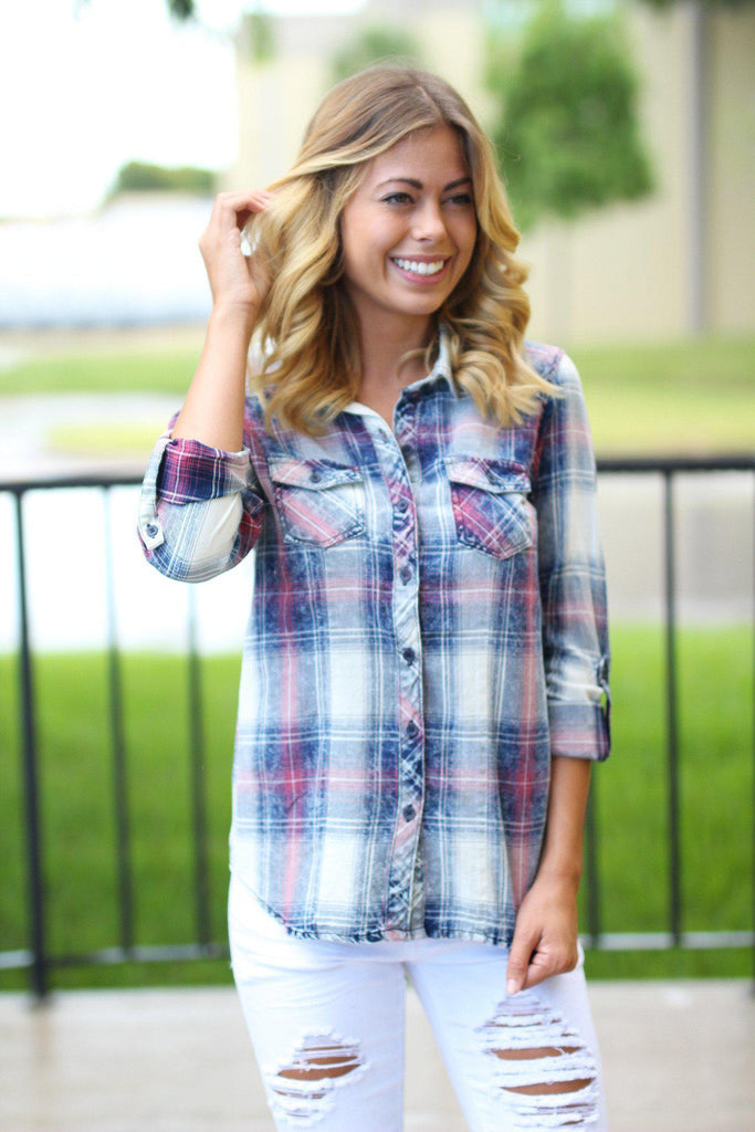 faded plaid top with front pockets