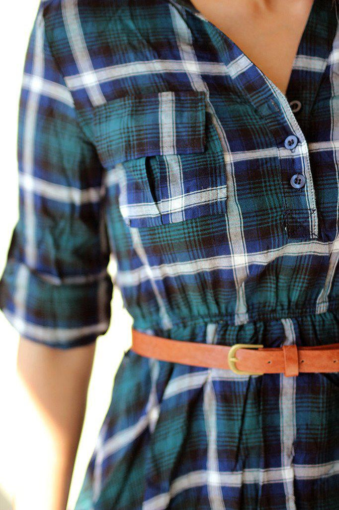 green plaid dress with belt