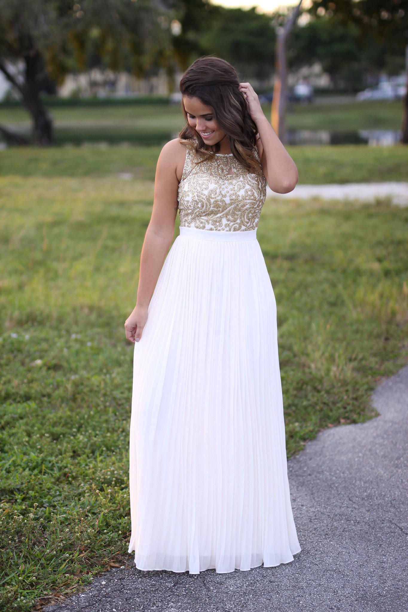 Cream and Gold Pleated Maxi Dress