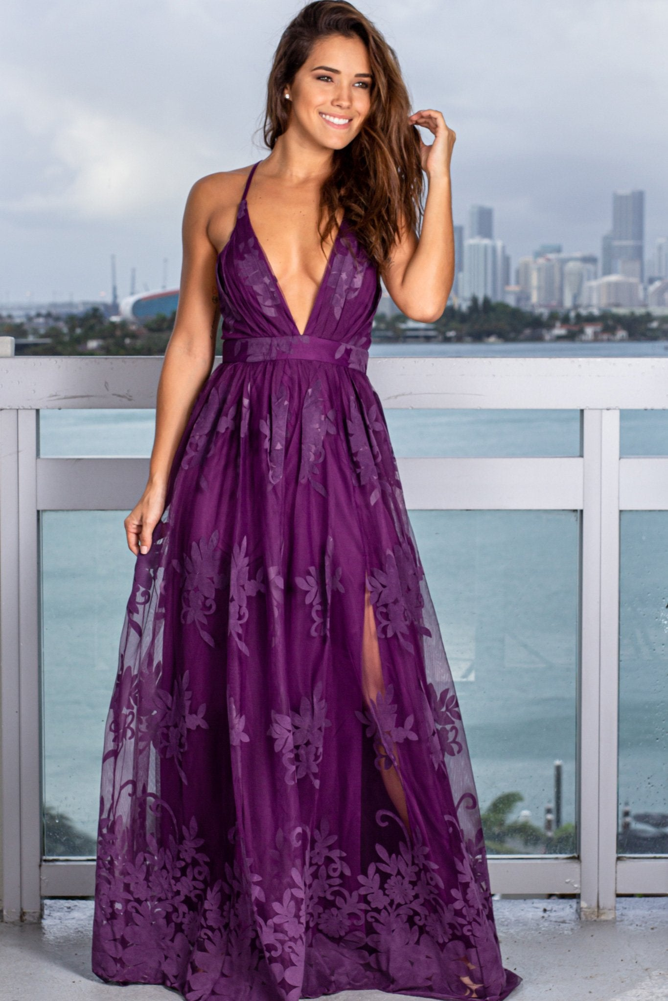 Plum Floral Tulle Maxi Dress with Criss Cross Back