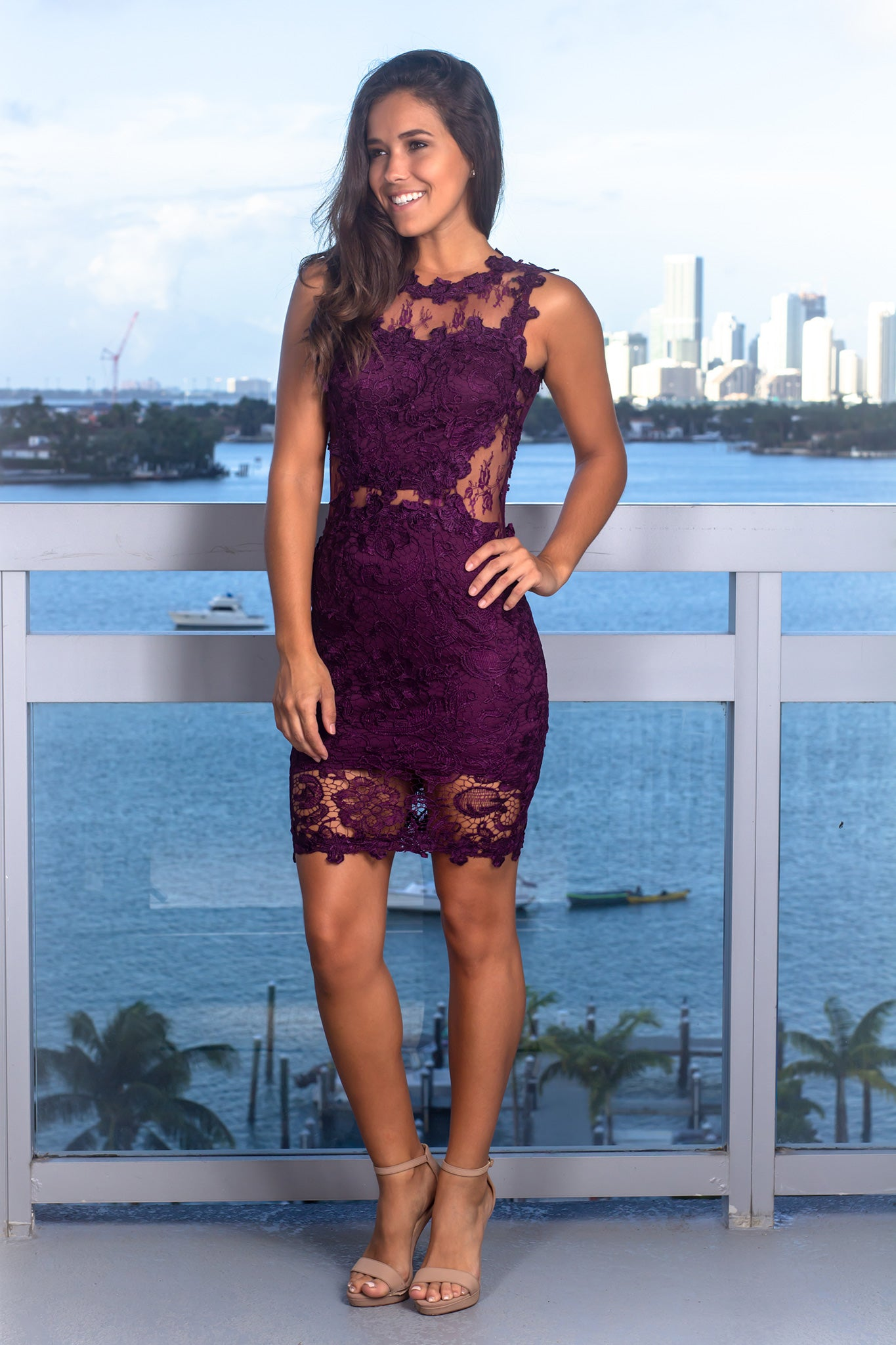 Plum Lace Short Dress