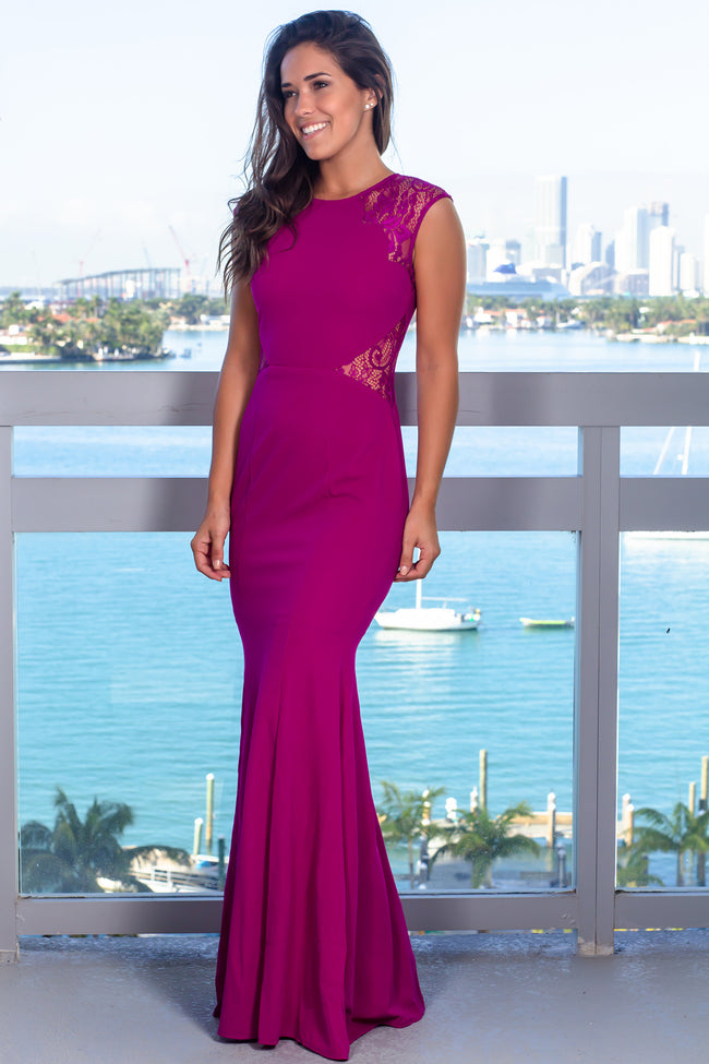 Plum Maxi Dress with Lace Cut Outs