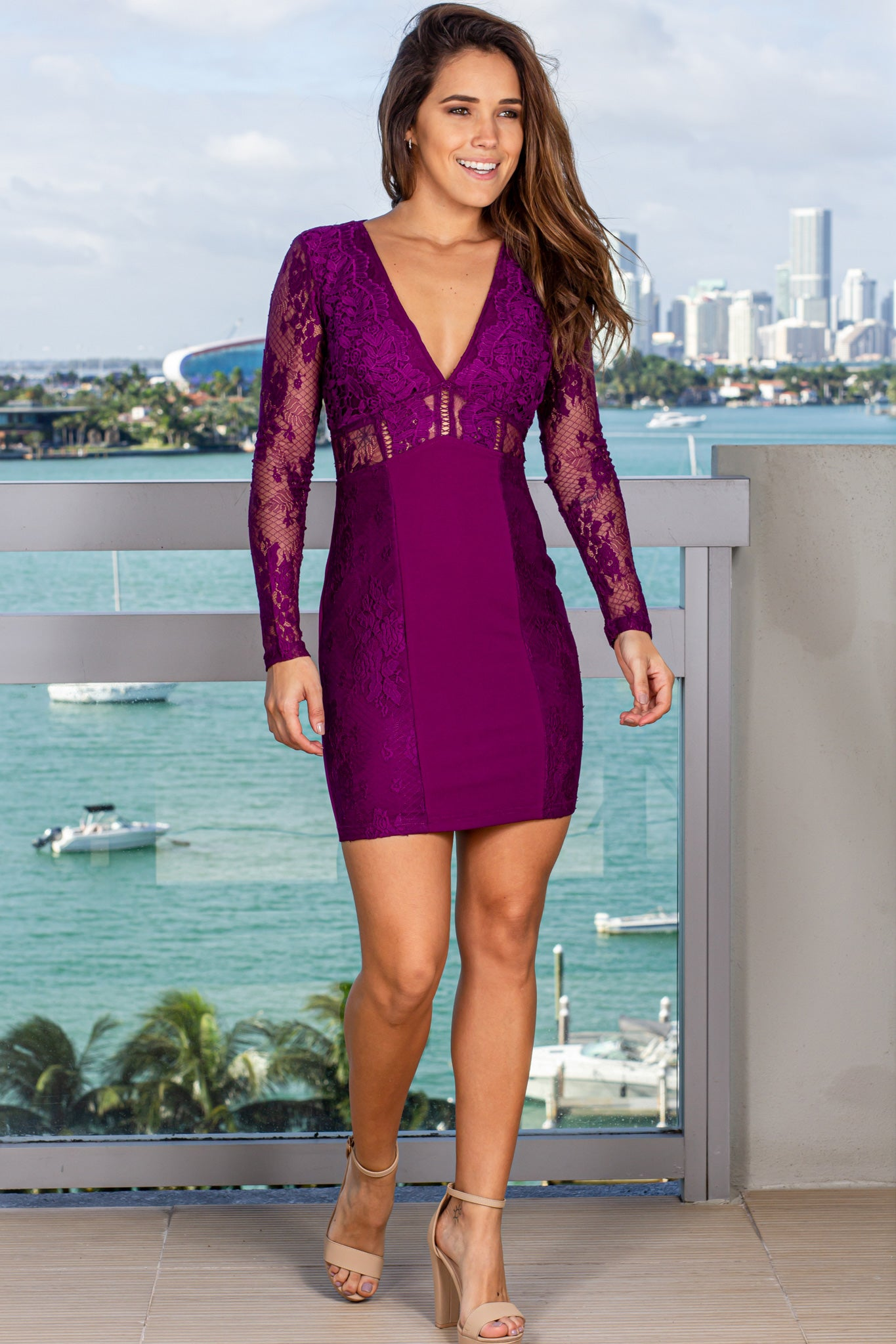 Plum Short Dress with Lace Sleeves