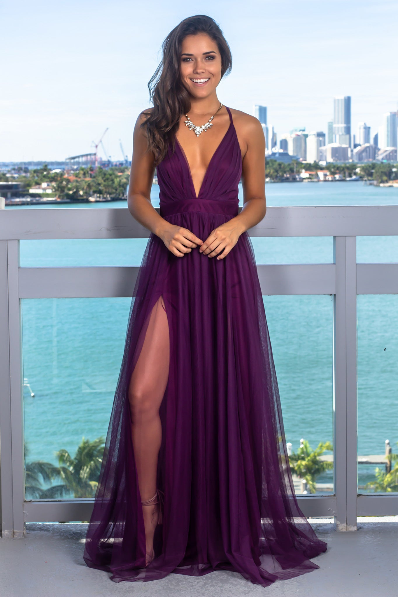 Plum V-Neck Tulle Maxi Dress with Criss Cross Back