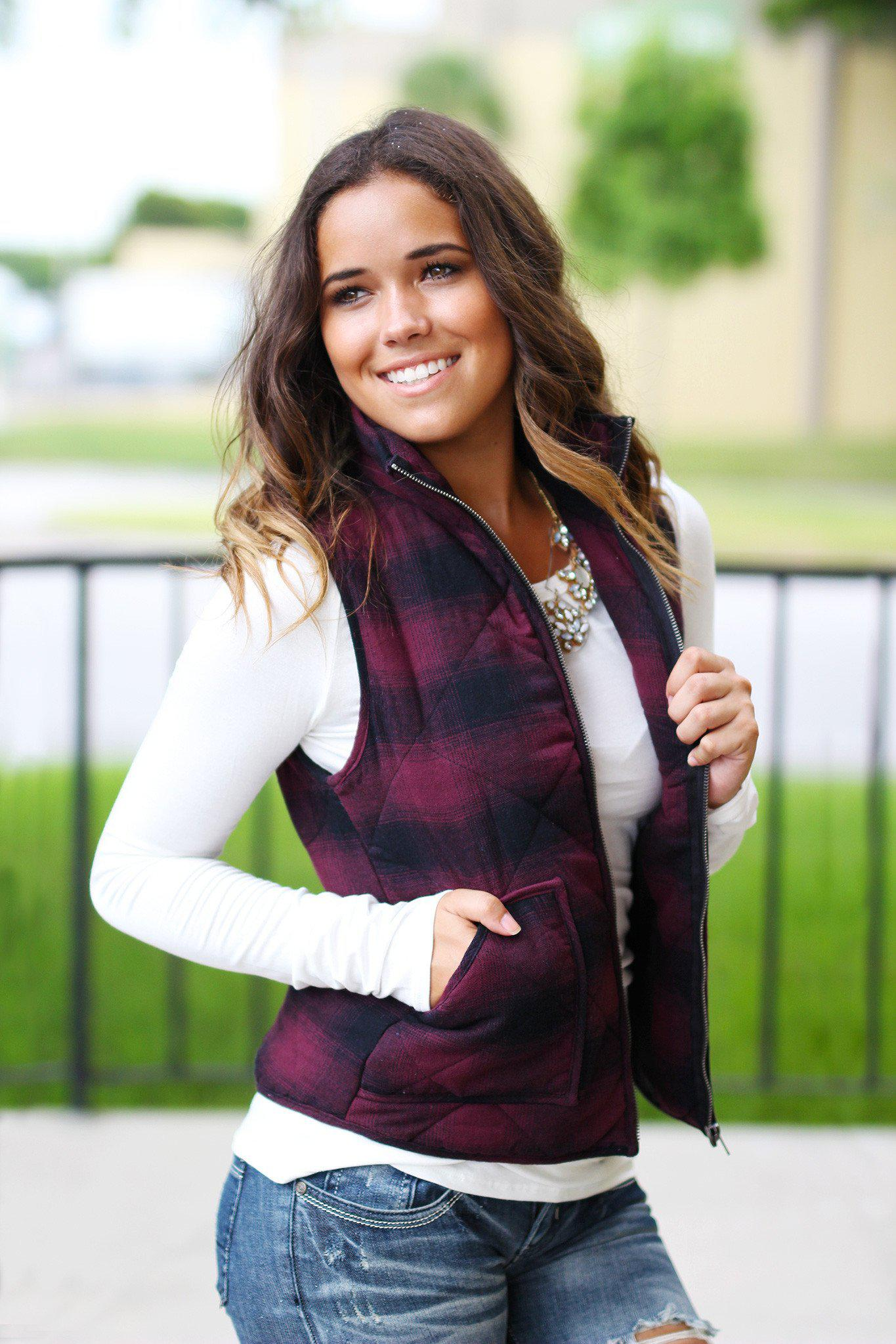 Plum and Black Flannel Vest With Pockets