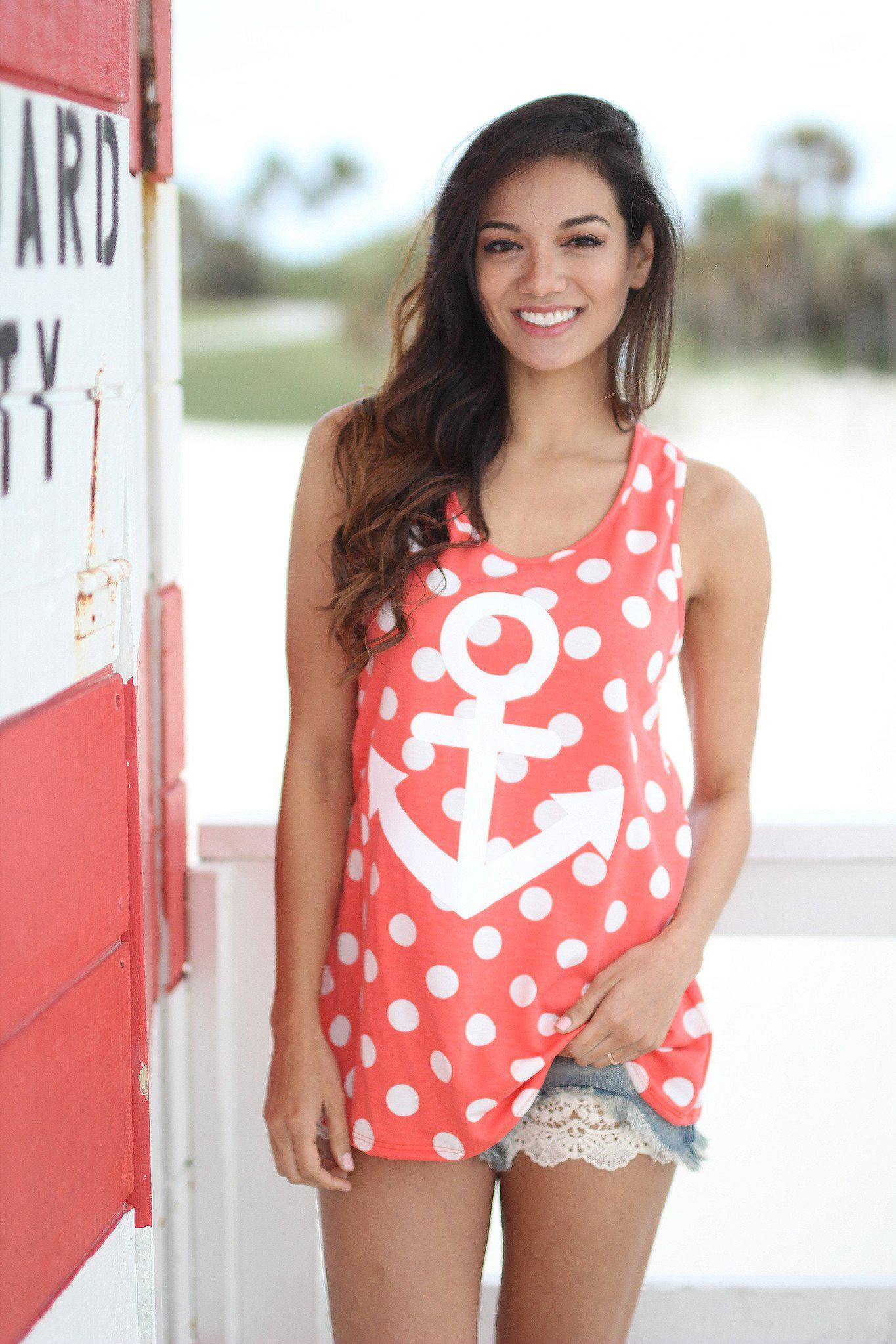 Coral Polka Dot Anchor Tank Top