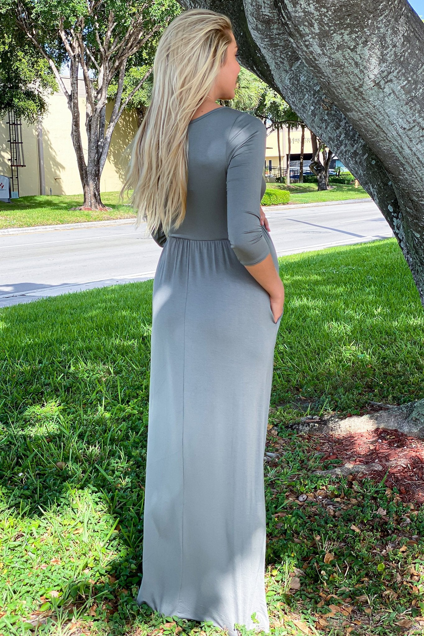 Olive Maxi Dress with Sleeves