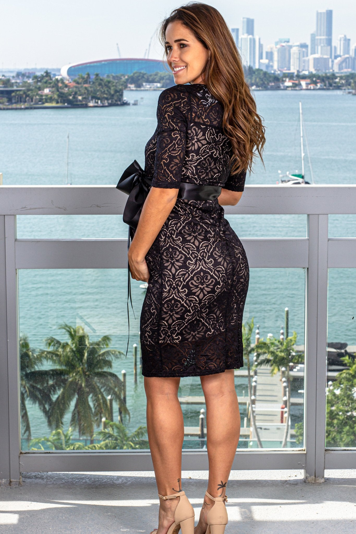 Black and Taupe Lace Short Dress